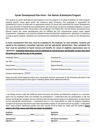 Career Development Plan Form