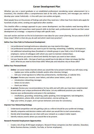 Career Development Plan in PDF