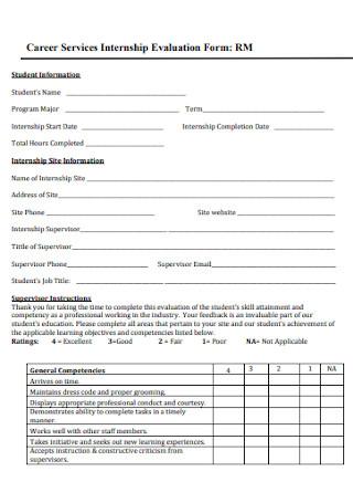 Career Services Internship Evaluation