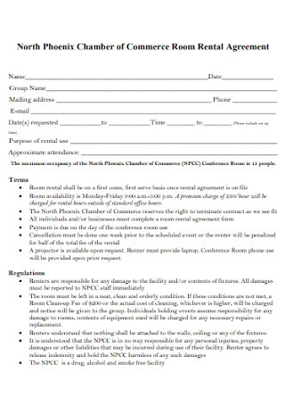 Chamber of Commerce Room Rental Agreement