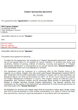 Chapter Sponsorship Agreement
