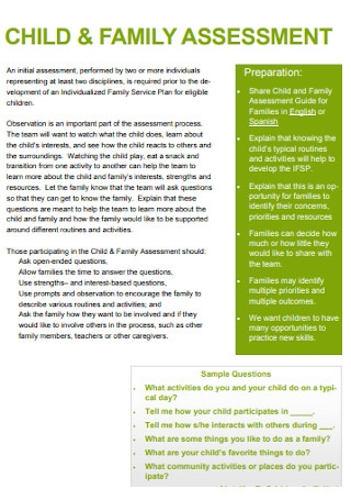 Child and Family Assessment Template