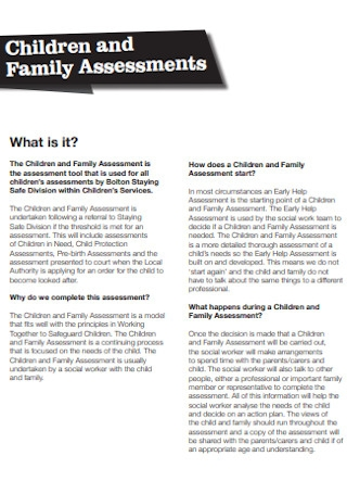 Children and Family Assessments