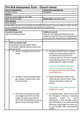 Church Centre Fire Risk Assessment Form