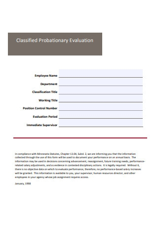 Classified Probationary Evaluation