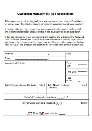 Classroom Management Self Assessment