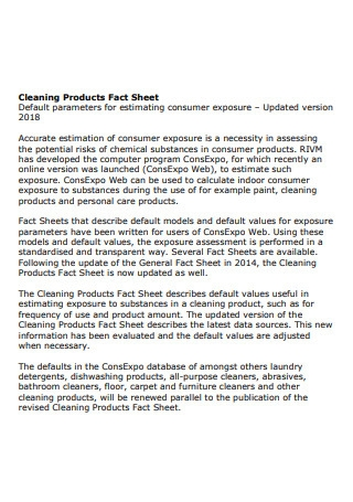 Cleaning Product Fact Sheet