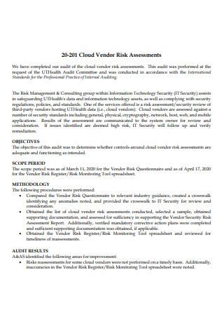 Cloud Vendor Risk Assessment