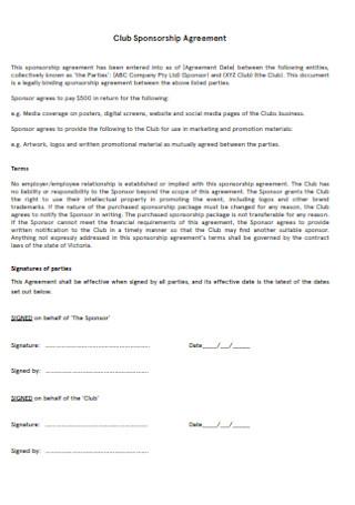 Club Sponsorship Agreement1