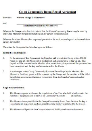Co op Community Room Rental Agreement