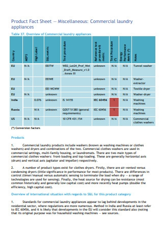 Commercial Laundry Appliances Product Fact Sheet