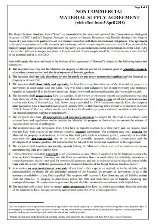 Commercial Material Supply Agreement