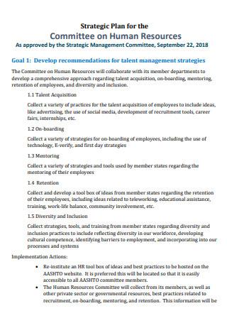 Committee on Human Resources Startegic Plan
