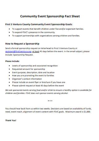 Community Event Sponsorship Fact Sheet
