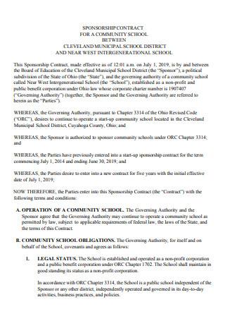 Community School Sponsorship Contract