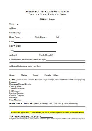 Community Theatre Script Proposal Form