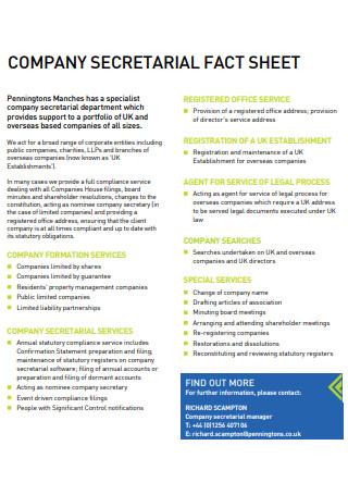 Company Sectretarial Fact Sheet