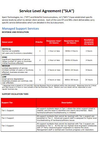 Company Service Level Agreement