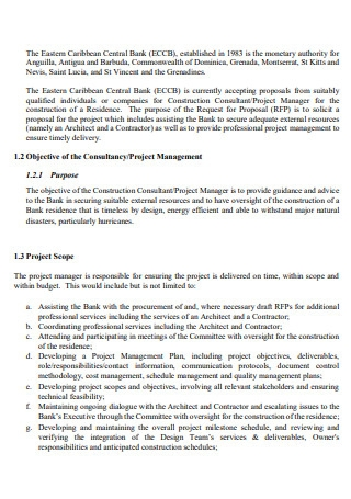 Construction Consultant Project Manager Proposal