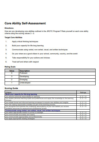 Core Ability Self Assessment
