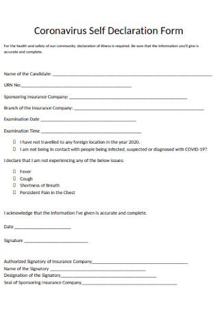 Coronavirus Self Declaration Form Template
