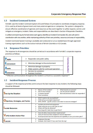 Corporate Emergency Response Plan