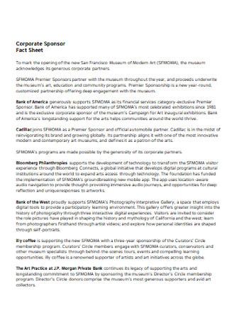 Corporate Sponsor Fact Sheet