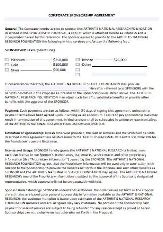 Corporate Sponsorship Agreement