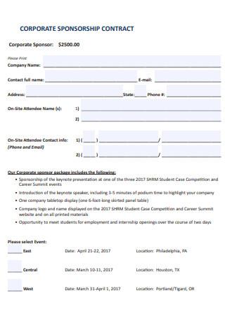 Corporate Sponsorship Contract