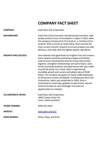 Corporation Company Fact Sheet