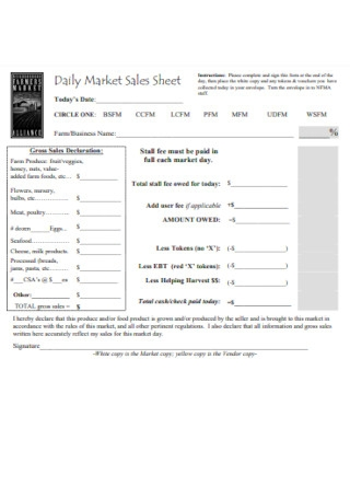 Daily Market Sales Sheet