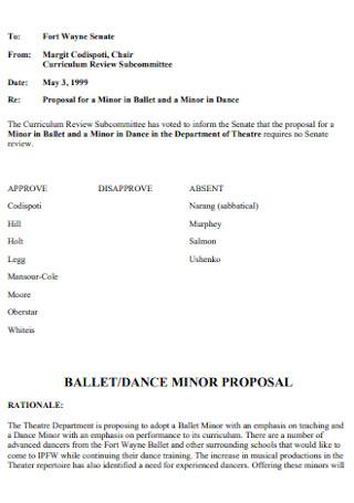 Dance Minor Proposal