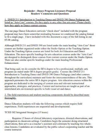 Dance Program Licensure Proposal