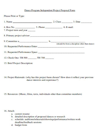 Dance Program Proposal Form
