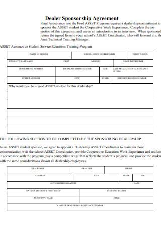 Dealer Sponsorship Agreement