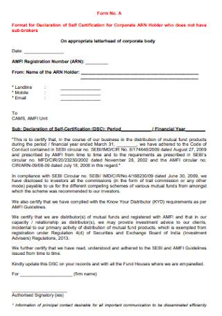 Declaration of Self Certification Form