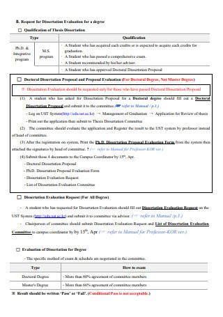 Degree Dissertation Evaluation