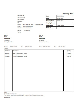 Delivery Note Form Format