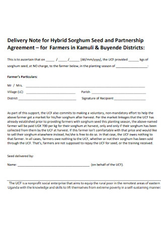Delivery Note for Hybrid Seed