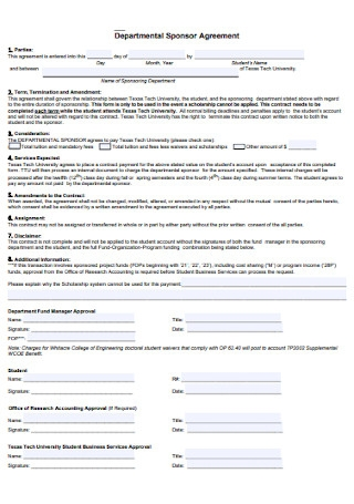 Departmental Sponsor Agreement