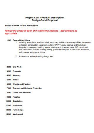 Design Build Proposal Scope of Work For Renovation