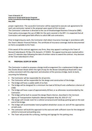 Design Build Service Proposal Scope of Work