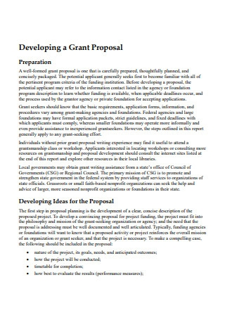 Developing Nonprofit Grant Proposal