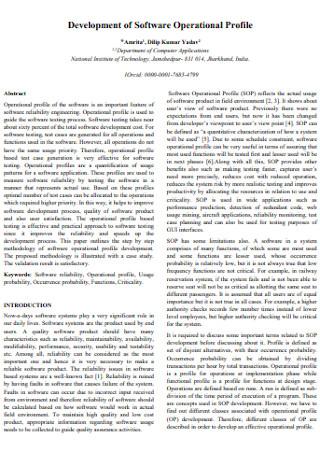 Development of Software Operational Profile