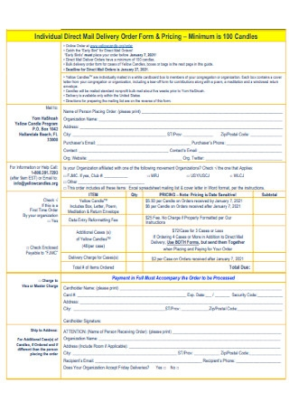 Direct Mail Delivery Order Form