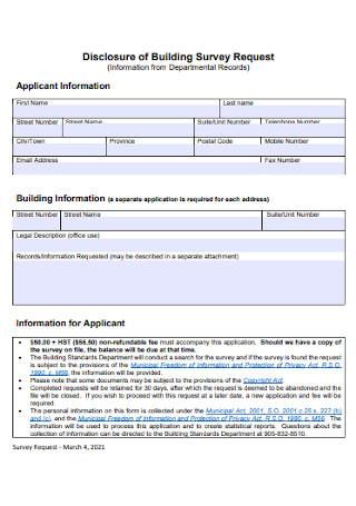 Disclosure of Building Survey