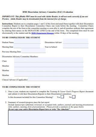 Dissertation Advisory Committee Evaluation