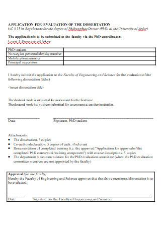 Dissertation Application Evaluation