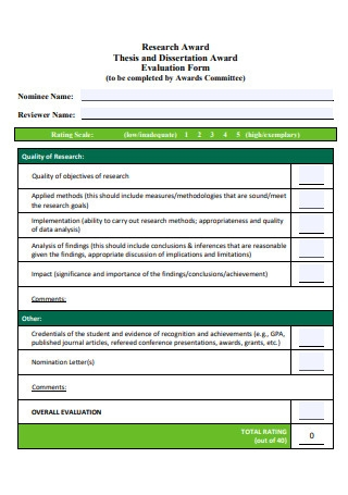 Dissertation Award Evaluation Form
