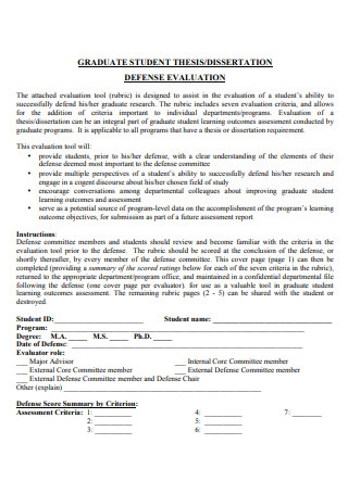 Dissertation Defense Evaluation